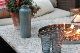 DIY fire pit in outdoor table