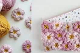 crochet flower clutch