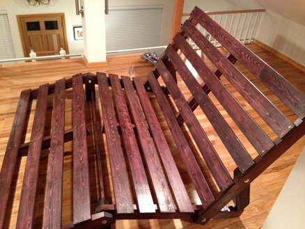 Wood stained futon frame