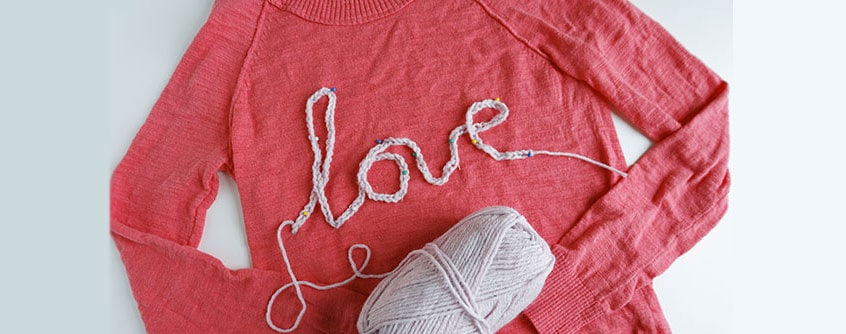 DIY love word sweater