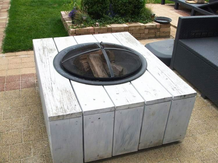 DIY wood table with fire pit