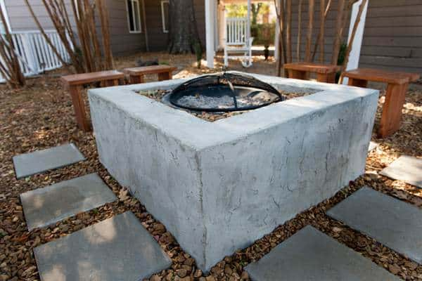 Stucco-Effect Fire Pit with Bowl