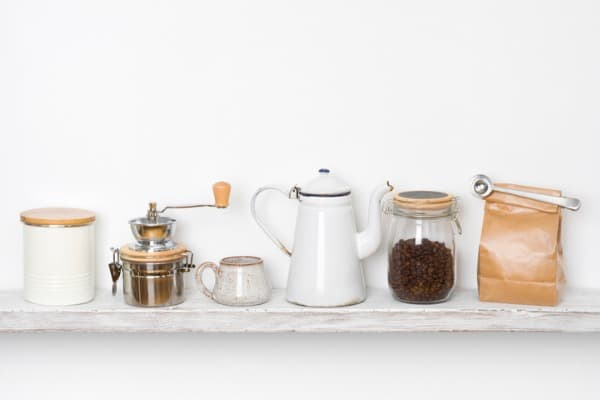 vintage coffee bean decor with jars and grinders