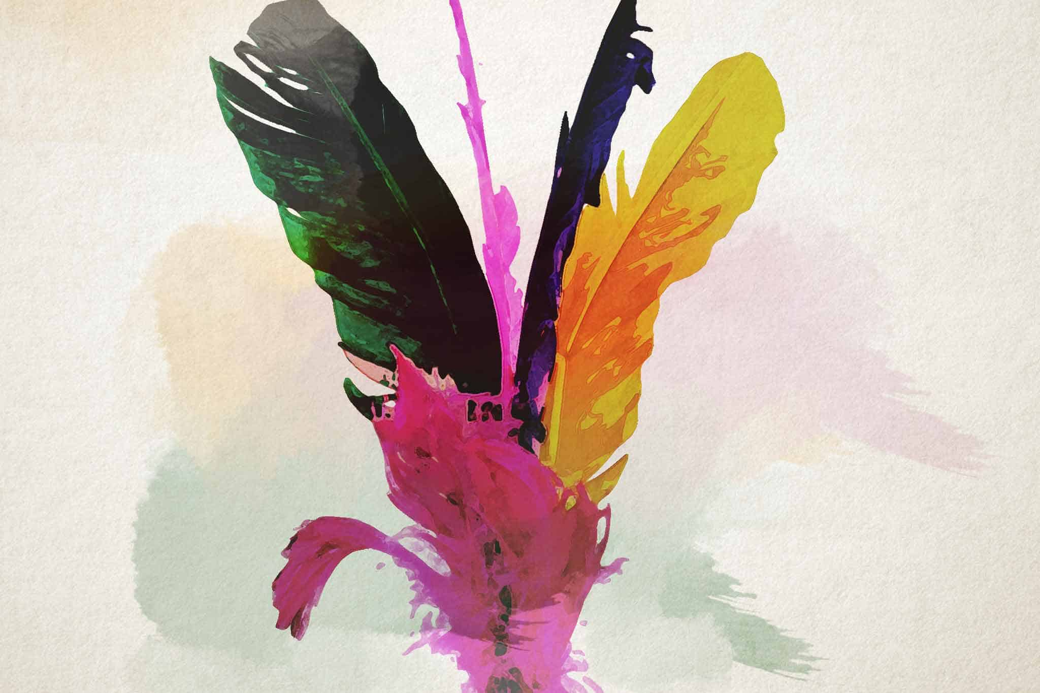 feather pink yellow green
