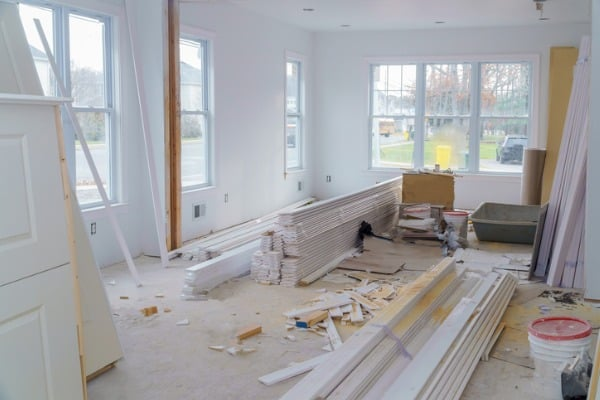interior construction of housing project with drywall installed door