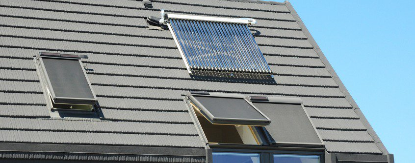 modern house roof with solar water heater