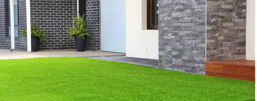 nice house with artificial grass