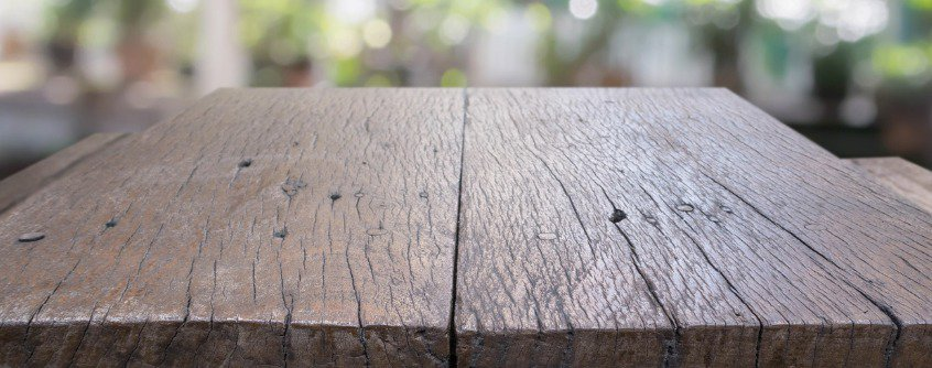 Rustic table top for outdoor bar