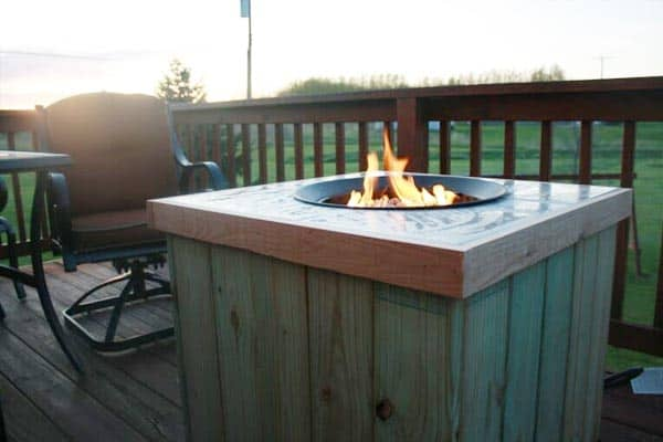 Wooden fire pit on deck