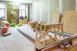 working process of installing metal frames for plasterboard drywall